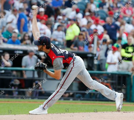 Stock Picture of Atlanta Braves Ian Anderson releases a pitch during the SIRIUSXM All-Star Futures Game at Progressive Field in Cleveland, Ohio, USA, 07 July 2019.