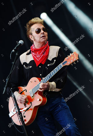 Guitarrist Brian Setzer of the US rockabilly band 'Stray Cats' performs during the 31st Eurockeennes Festival in Belfort, France, late 07 July 2019 (issued 08 July 2019). The music festival ran from 04 to 07 July 2019.