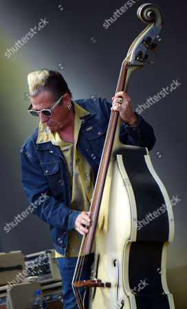Stock Picture of Bassist Lee Rocker of the US rockabilly band 'Stray Cats' performs during the 31st Eurockeennes Festival in Belfort, France, late 07 July 2019 (issued 08 July 2019). The music festival ran from 04 to 07 July 2019.