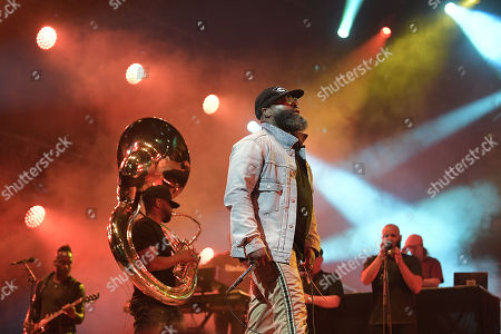 Tariq Luqmaan Trotter (C), better known under his stage name Black Thought of the US hip hop band 'The Roots' performs during the 31st Eurockeennes Festival in Belfort, France, late 07 July 2019 (issued 08 July 2019). The music festival ran from 04 to 07 July 2019.