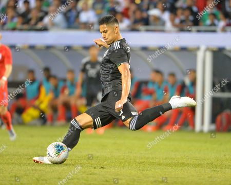 Mexico defender, Carlos Salcedo (3), loads up to kick the ball during the CONCACAF Gold Cup, championship match, between the United States and Mexico, at Soldier Field in Chicago, IL. Credit: Kevin Langley/CSM