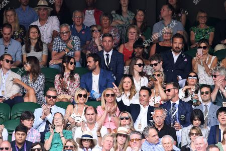 Binky Felstead, Lucy Watson, Anthony McPartlin, Anne-Marie Corbett, Emily Atack, Matt Edmondson, Laura Bailey, Spencer Matthews and Alexandra Burke on Centre Court