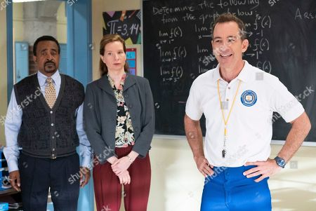 Tim Meadows as Principal John Glascott, Lennon Parham as Liz Flemming and Bryan Callen as Coach Rick Mellor