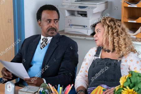 Stock Picture of Tim Meadows as Principal John Glascott and Rachel Crow as Felicia