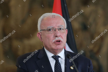 Palestinian National Authority Foreign Minister Riyad al-Maliki during a joint press conference following a meeting with Czech Foreign Minister Tomas Petricek (unseen) at the Czernin Palace, in Prague, Czech Republic, 08 July 2019.
