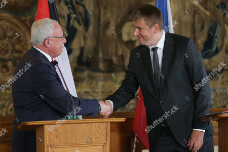 Palestinian National Authority Foreign Minister Riyad al-Maliki (L) smiles during a joint press conference with Czech Foreign Minister Tomas Petricek (R) following their meeting at the Czernin Palace, in Prague, Czech Republic, 08 July 2019.
