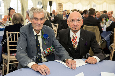 Battle of Britain Veteren Paul Farnes DFM with Sir Ben Kingsley at the Battle of Britain Memorial Day annual parade and flypast.