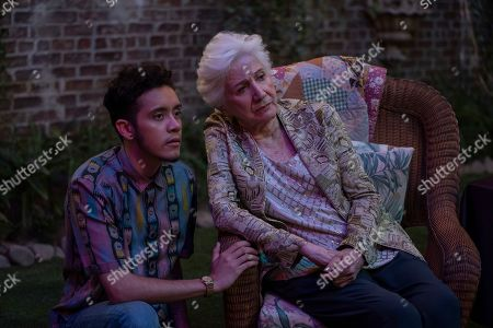 Garcia as Jake Rodriguez and Olympia Dukakis as Anna Madrigal