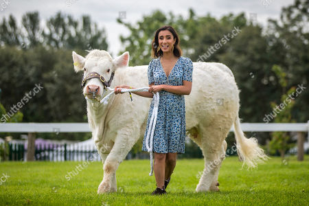 TV presenter Anita Rani who is broadcasting a two part series from the Great Yorkshire show walks a Charolais cow