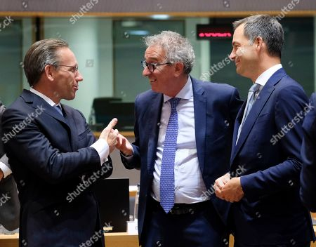 (L-R) German Deputy finance minister Jorg Kukies, Luxembourg's Finance Minister Pierre Gramegna and Belgian Minister of Finance Alexander De Croo during the Eurogroup Finance Ministers' meeting in Brussels, Belgium, 08 July 2019.