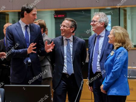 (L-R) Dutch Finance Minister Wopke Hoekstra, German Deputy finance minister Jorg Kukies, Luxembourg's Finance Minister Pierre Gramegna and Spanish Economy Minister Nadia Calvino during the Eurogroup Finance Ministers' meeting in Brussels, Belgium, 08 July 2019.