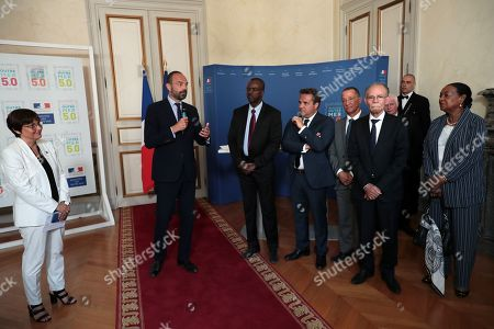French Minister for Overseas Annick Girardin (L) and French Prime Minister Edouard Philippe (2-L) meet with presidents of the Overseas collectivities ahead of the signature of the 'Charte Trajectoire outre-mer 5.0' (lit: trajectory oversea 5.0 treaty) at the Overseas Ministery, in Paris, France, 08 July 2019.  These Convergence and Transformation Contracts are the concrete expression of the ambitions set in the Overseas Blue Book which was presented on June 28, 2018 at the Elysee Palace on the basis of projects of the Assises des Outre-Mer conducted in the French territories.