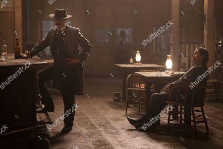 Timothy Olyphant as Seth Bullock and Ian McShane as Al Swearengen