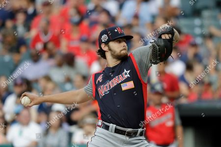 Stock Image of Ian Anderson, of the Atlanta Braves, throws during the MLB All-Star Futures baseball game, in Cleveland. The 90th MLB baseball All-Star Game will be played Tuesday