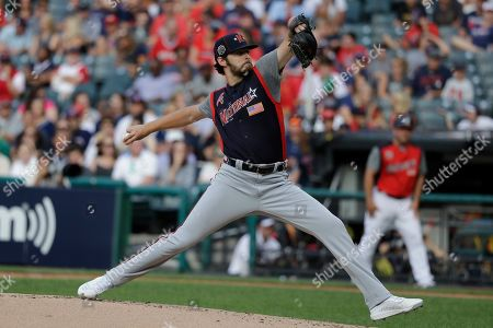 Ian Anderson, of the Atlanta Braves, throws during the MLB All-Star Futures baseball game, in Cleveland. The 90th MLB baseball All-Star Game will be played Tuesday