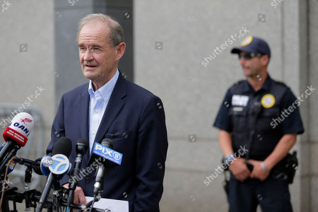 Attorney David Boies speaks to reporters in front of federal court in New York, . Eleven years after letting Jeffrey Epstein off lightly with a once-secret plea deal, the U.S. government is taking another run at putting the wealthy sex offender behind bars with new sex-trafficking charges that law enforcement officials say involve allegations dating to the early 2000s. Boies is representing some of the alleged victims
