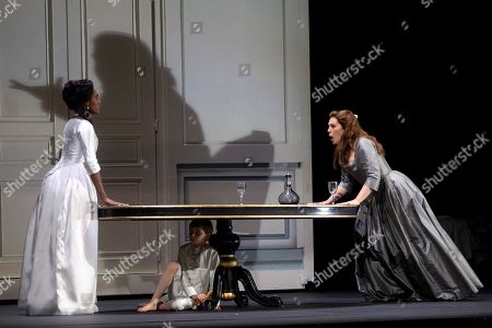 Stock Picture of US soprano Sondra Radvanovsky (R) and US mezzo-soprano J'Nai Bridges (L) perform during a rehearsal of Italian composer Giuseppe Verdi's opera 'Luisa Miller' at the Gran Teatre del Liceu in Barcelona, Spain, 08 July 2019. The production will run from 14 to 27 July.