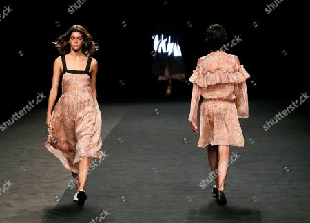 Stock Image of Models present creations from the Spring-Summer 2020 collection by Roberto Torretta during the 70th Mercedes-Benz Fashion Week Madrid, in Madrid, Spain, 08 July 2019. The MBFWM runs from 05 to 10 July.