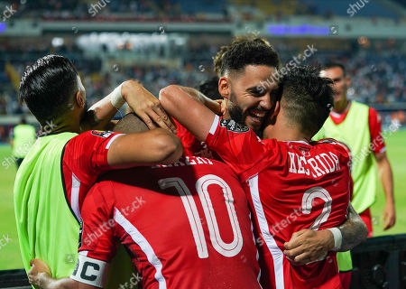 FRANCE OUT Dylan Daniel Mahmoud Bronn of Tunisia celebrating with Wahbi Khazri of Tunisia during the African Cup of Nations match between Ghana and Tunisia at the Ismailia Stadium in Ismailia, Egypt
