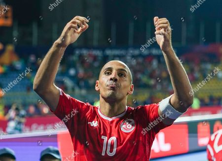 FRANCE OUT Wahbi Khazri of Tunisia celebrating the victory during the African Cup of Nations match between Ghana and Tunisia at the Ismailia Stadium in Ismailia, Egypt