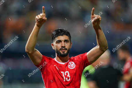 FRANCE OUT Ferjani Sassi of Tunisia thanking the specators during the African Cup of Nations match between Ghana and Tunisia at the Ismailia Stadium in Ismailia, Egypt