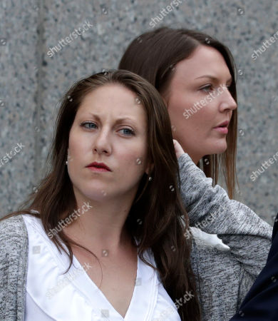 Michelle Licata (L) and Courtney Wild (R) alleged sexual victims of American financier Jeffrey Epstein depart United States Federal Court in New York, New York, USA, 08 July 2019. According to reports, US financier Jeffrey Epstein who was arrested on 08 July 2019 on sex trafficking and conspiracy charges, has been formally charged with two sex trafficking counts.