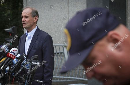 Victims lawyer David Boies address the media after leaving a hearing at Manhattan Federal Court, in New York, for financier Jeffrey Epstein, was arrested in New York on sex trafficking charges