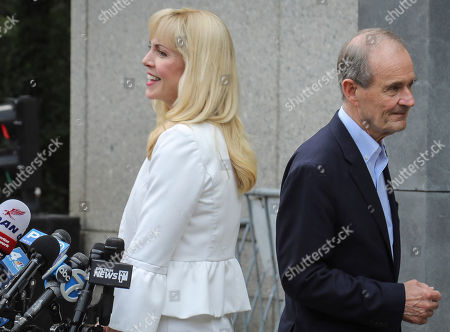 Victim lawyers Sigrid McCawley, left, and David Boies, right, address media after leaving a hearing at Manhattan Federal Court, in New York, for financier Jeffrey Epstein, was arrested in New York on sex trafficking charges