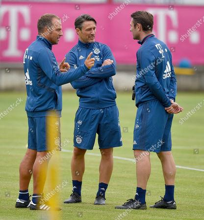 08.07.2019, Football 1.Bundesliga 2019/2020, Trainingsauftakt FC Bayern Muenchen, an Saebener Strasse.  Co-Trainer Hans-Dieter Flick (FC Bayern Muenchen) , Trainer Niko Kovac (FC Bayern Muenchen) and Co-Trainer Robert Kovac (FC Bayern Muenchen)