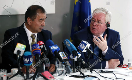 Stock Picture of European Union (EU) Special Envoy for the Peace Process in Colombia Eamon Gilmore (R) speaks next to Colombian interim Attorney General Fabio Espitia (L) during a press conference in Bogota, Colombia, 08 July 2019. The EU announced that it will give 2 million euros to reinforce the special division of prosecution that are investigating the murders of social leaders and former guerrillas.