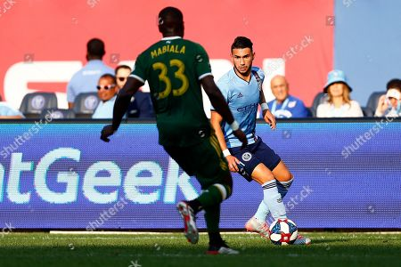 New York City defender Ronald Matarrita (22) in action during an MLS soccer match against the Portland Timbers, in New York. The Timbers won 1-0
