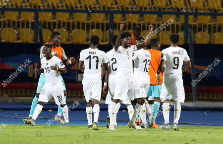 Asamoah Gyan of Ghana celebrates goal with teammates during the 2019 Africa Cup of Nations Last 16 match between Ghana and Tunisia at the Ismailia Stadium, Ismailia, Egypt, 08 July 2019.