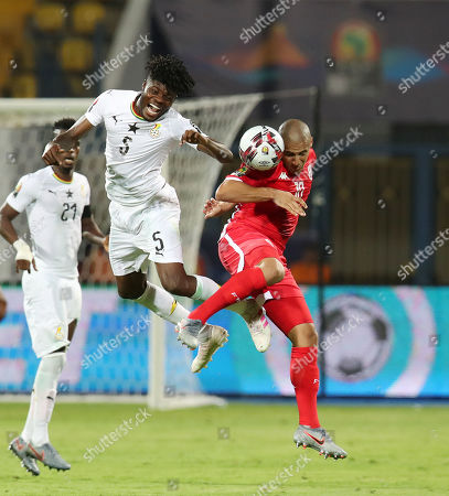 Thomas Teye Partey of Ghana challenged by Wahbi Khazri of Tunisia during the 2019 Africa Cup of Nations Last 16 match between Ghana and Tunisia at the Ismailia Stadium, Ismailia, Egypt, 08 July 2019.