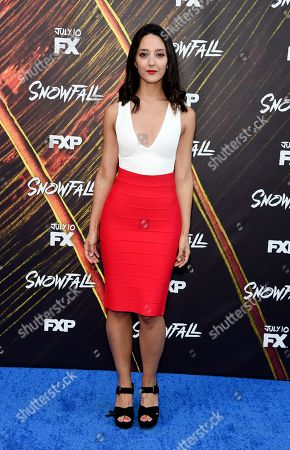 """Adriana Degirolami, a cast member in the FX series """"Snowfall,"""" poses at the third season premiere of the FX show, in Los Angeles"""