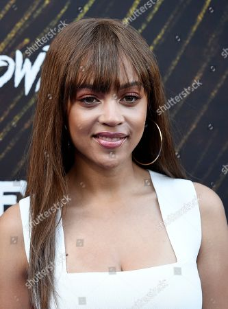 "Reign Edwards, a cast member in the FX series ""Snowfall,"" poses at the third season premiere of the FX show, in Los Angeles"