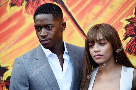 "Damson Idris, Reign Edwards. Damson Idris, left, and Reign Edwards, cast members in the FX series ""Snowfall,"" pose together at the third season premiere of the show, in Los Angeles"