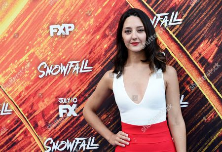 """Stock Image of Adriana Degirolami, a cast member in the FX series """"Snowfall,"""" poses at the third season premiere of the FX show, in Los Angeles"""