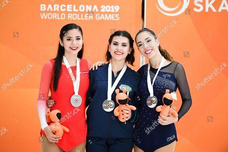 Junior Ladies Solo Dance medalists, silver medalist Maria Sophia Veileuva from Paraguay,  gold medalist Gabriella Giraldi from Brazil and bronze medalist Asya Sofia Testoni from Italy