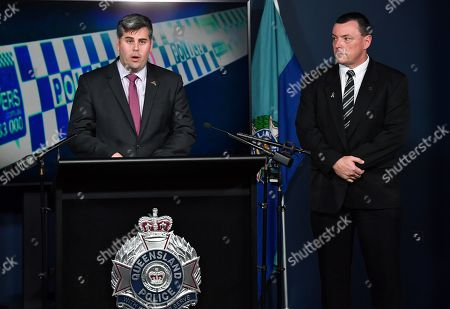 Queensland Minister for Police and Corrective Services Mark Ryan (L) speaks next to Detective Inspector Damien Hansen (R) during a press conference to announce a 174,000 US dollar reward for information relating to the murder of 22-year-old Vincent Raymond Allen in 1964, at Roma Street Police Headquarters in Brisbane, Australiam 09 July 2019. Vincent Raymond Allen, who's body has never been found, was last seen alive on 18 April 1964.