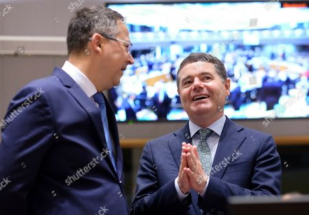 Ladislav Kamenicky (L) the Finance Minister of Slovakia and Irish Minister for Finance and Public Expenditure Paschal Donohoe during a Finance Ministers' meeting in Brussels, Belgium, 09 July 2019.