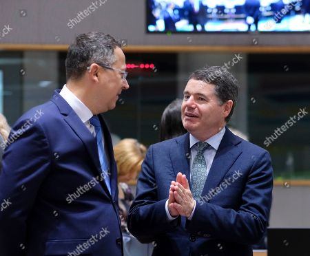 Ladislav Kamenicky (L) the Finance Minister of Slovakia and Irish Minister for Finance and Public Expenditure, Paschal Donohoe during a Finance Ministers' meeting in Brussels, Belgium, 09 July 2019