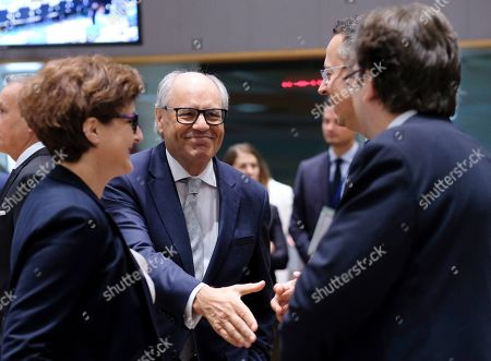 Malta's Finance Minister, Edward Scicluna (C), during a European Finance Ministers' meeting in Brussels, Belgium, 09 July 2019.