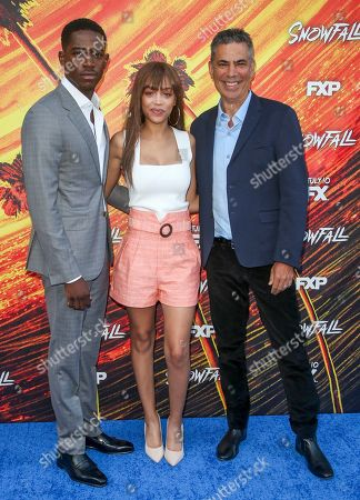 Stock Image of Damson Idris, Reign Edwards and Michael London