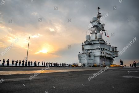Stock Photo of Nuclear aircraft carrier Charles de Gaulle returns to port
