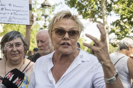 Actress Muriel Robin attends a rally calling for immediate measures and increased resources to fight feminicides in France.