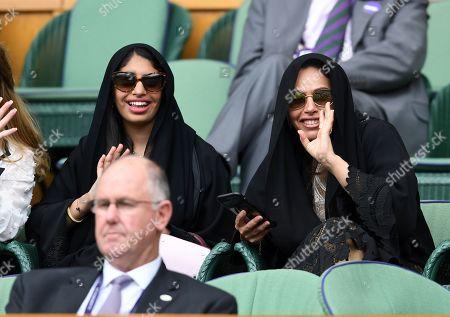 Stock Photo of HH Sheikha Shaikha bint Mohammed bin Khalid Al Nahyan and Sheikh Hamda bint Saeed bin Hamdan Al Nahyan on Centre Court