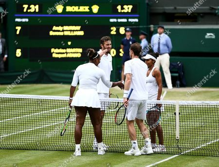 Serena Williams and Andy Murray celebrate victory during their Mixed Doubles second round match against Fabrice Martin and Raquel Atawo