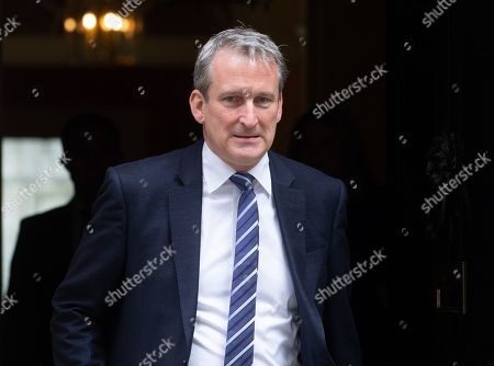 Damian Hinds, Secretary of State for Education, leaves  the weekly Cabinet Meeting.