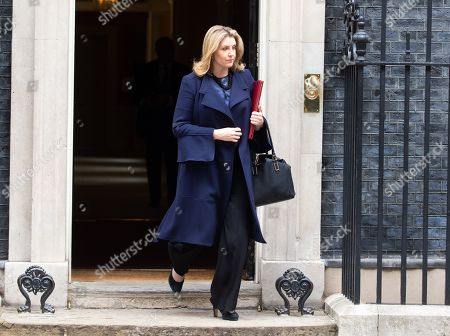 Penny Mordaunt, Secretary of State for Defence, Minister for Women and Equalities, leaves  the weekly Cabinet Meeting.