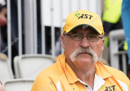 Stock Image of Merv Hughes at Old Trafford for the first semi final during India vs New Zealand, ICC World Cup Semi-Final Cricket at Old Trafford on 9th July 2019